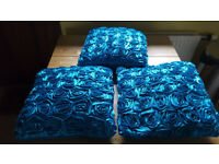 Teal cushions x3 and matching flowers £5