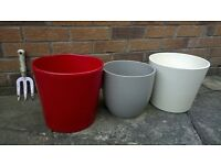 3 Large Modern Plant Pots. Outdoor Indoor.