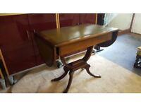 Vintage Drop Leaf Pedestal Console Table