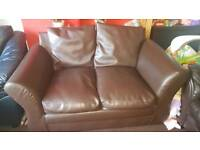 Leather style sofa brown