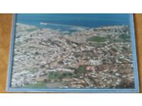 Large Framed Aerial view Brixham...pre wall park development