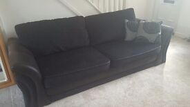 DFS BLACK FABRIC 4 SEATER SOFA