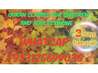 Quran classes for children and adults online 3 days free trial just a call or text on +923125699036