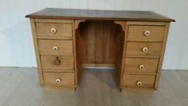Reclimed Pine/Oak Handmade Twin Pedestal Desk