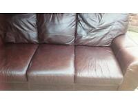 Leather brown settee