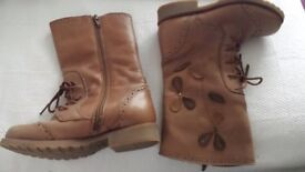 Girls Next Tan leather boots size 12
