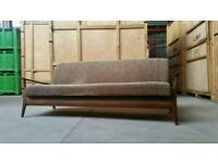 Vintage retro mid century teak sofa/ day bed