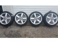 Audi GENUINE 18'' alloy wheels + 4 x tyres 245 40 18 like new