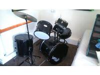 Tiger Full Size 5 Piece Drum Kit - Black