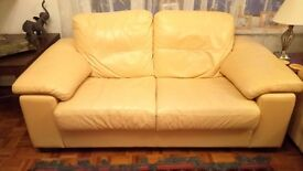 2 Cream Leather Sofas - to sell together or individually
