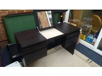 Black desk with draws and fold away mirror