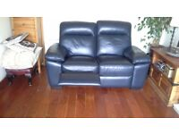 2 seat recliner sofa in luxury blue leather only 7mths old and rarely been used