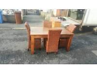 Oak table 4wicker chairs