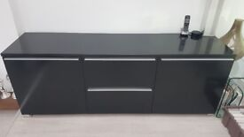 Boconcept Contemporary Sideboard, Black Lacquered, brushed titanium handles/feet, good condition.