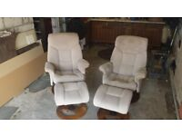 TWO RECLING CHAIRS & FOOTRESTS