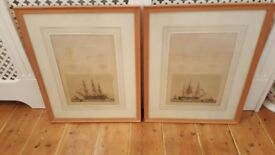 pair of antique ships pictures in oak frames