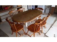 Kitchen dining table and six chairs
