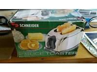 Schneider 2 extra wide slot stainless steel toaster
