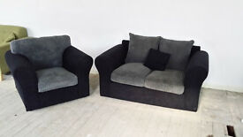 NEW Graded Grey and black 2 seater sofa with 1 armchairs FREE LOCAL DELIVERY