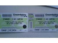 Creamfields 3 day camping tickets x 2