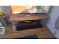 Large Beech and Grey TV Stand with smoked glass shelf
