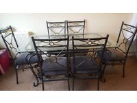 Iron glass dining table and chairs