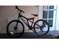 boss stealth 21 gears dual suspention blue bycycle