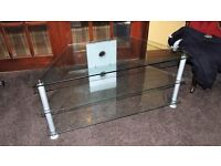 glass tv stand good as new