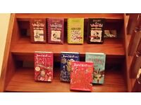 4 diary of a wimpy kid books and 4 david williams books