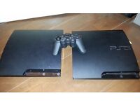 TWO Sony PlayStation 3 Slim CONSOLES WITH ONE CONTROLLER (spares)