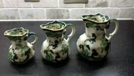 Set of 3 Masons Ironstone Chartreuse jugs