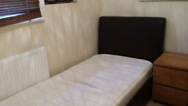 Brown Leather Single Bed