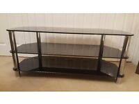 Immaculate Condition Black/Chrome TV Stand.