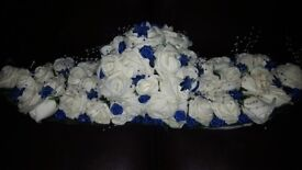 Top table artificial wedding flowers hand/home made royal blue and white
