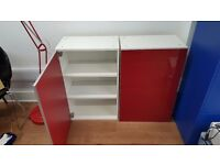 IKEA Faktum kitchen cupboards, pair, wall mounted with red lacquer doors