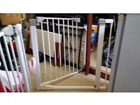 Two STAIR SAFETY GATES WITH two EXTENTIONS -Lindam sure shut