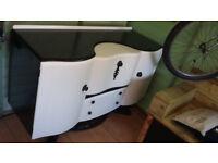 sellers refurbished sideboard/drinks cabinet in white with black handles