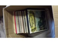 Large box of vinyl records - mostly old musicals