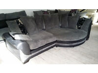 NEW Graded Black Leather and Grey Fabric Right Hand Corner Cuddle Sofa FREE LOCAL DELIVERY
