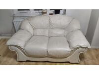 Beautiful white leather sofa 3 and 2 seater