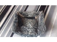 Woman's Grey Fur effect & Leather Handbag from River Island