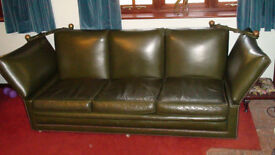 Vintage leather sofa and arm chair
