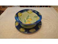 Hand Decorated Salad Bowl with Plate - Debenhams