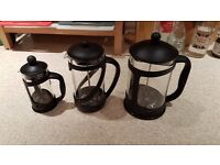 3 x Glass Cafetiere: Large, medium and small