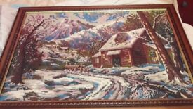 2 tapestry pictures in solid wooden frame