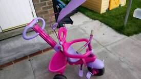 Baby girls trike with parent handle