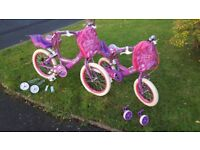 """Girls Bikes 12"""" and 14"""". Stabilisers included. Hardly used, Excellent Condition. £40 each."""