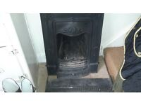 Beautiful Victorian style cast iron fireplace with fire guard and fender