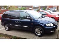 Urgent: B'Ham/London, 2002 Chrysler Grand Voyager 3.3 Petrol Automatic Blue, DVD/CD fully loaded