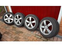 """4 x TSW 16"""" Alloy wheels with winter tyres."""